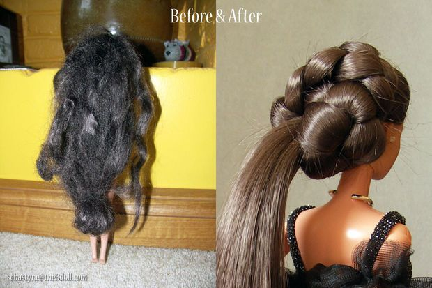 How to restore Barbie hair! Omg I wish I knew this when I was a kid.
