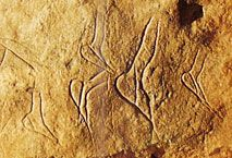 Figures féminines dans la Grotte de Combarelles. Les-Eyzies-de-Tayac. Dordofne
