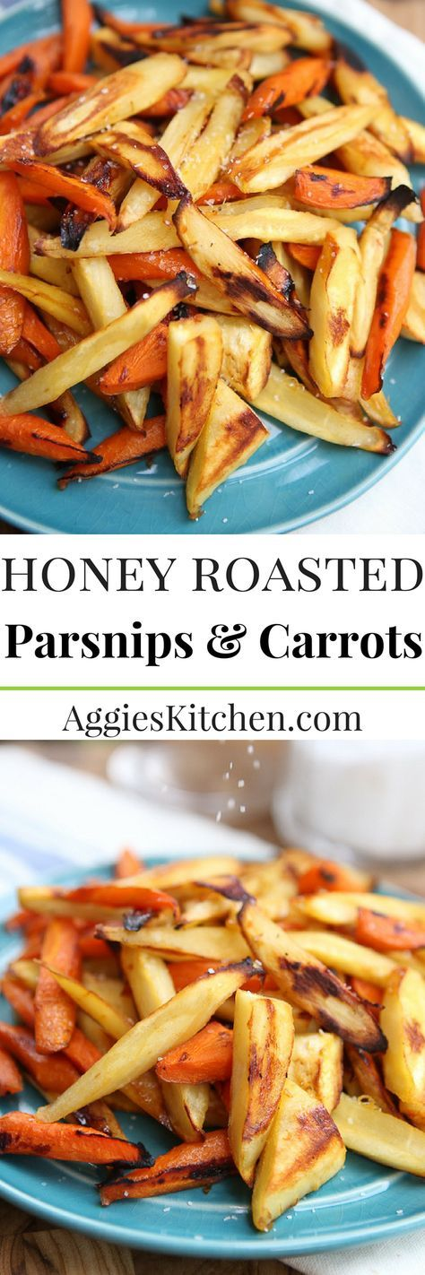 Honey Roasted Parsnips and Carrots are a great way to cook up seasonal fall root vegetables.