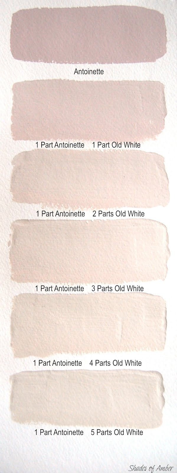 Shades of Amber: Chalk Paint Color Theory - Antoinette  #1000.4 Antoinette Chalk Paint      Old fashioned roses and the colour of old plaster.   This is a soft pale pink with a hint of brown in it so the pink is not too sweet.