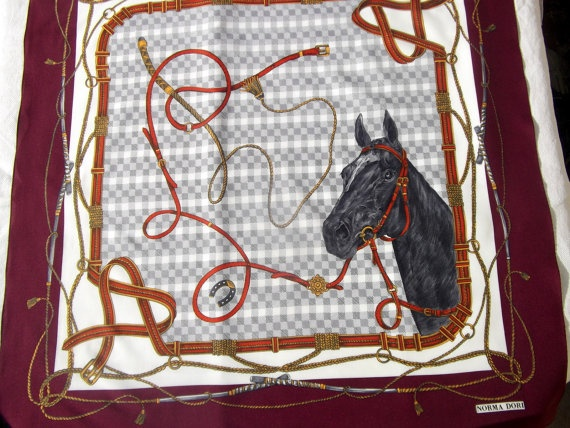 Norma Dori equestrian vintage scarf by CHEZELVIRE on Etsy, $10.00