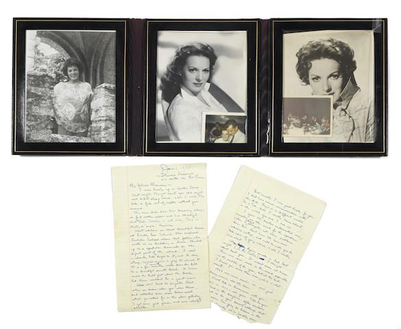 A group of Maureen O'Hara photographs signed to Charles Blair, with related correspondence