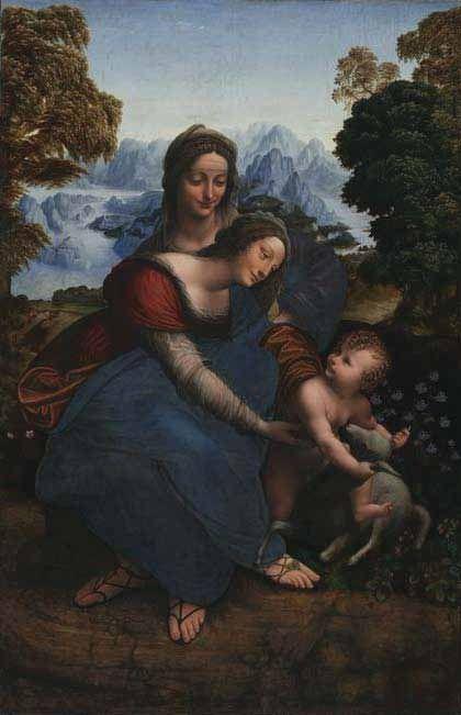 Atelier de Leonard de Vinci. Ste Anne, la Vierge et l'enfant Jésus jouant avec un agneau. 1508/1513. Los Angeles