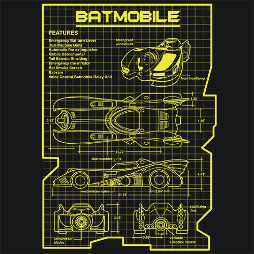 Batmobile T-Shirt From the Moblie Batcomputer, Bat Smoke Screen and Bat Ram to the Dual Machine Guns and Blast Proof Windshield this Blueprint tee shows you everything you need to know so you can buil
