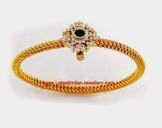 Traditional Twisted Design Gold Bangle, Kolusu Kaappu round, solid, inflexible, with diamond mugappu, screw open, snug fit around wrist