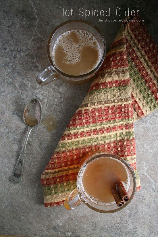Hot Spiced Cider from Jen's Favorite Cookies  - a perfect comforting drink for sore throats or cold days.