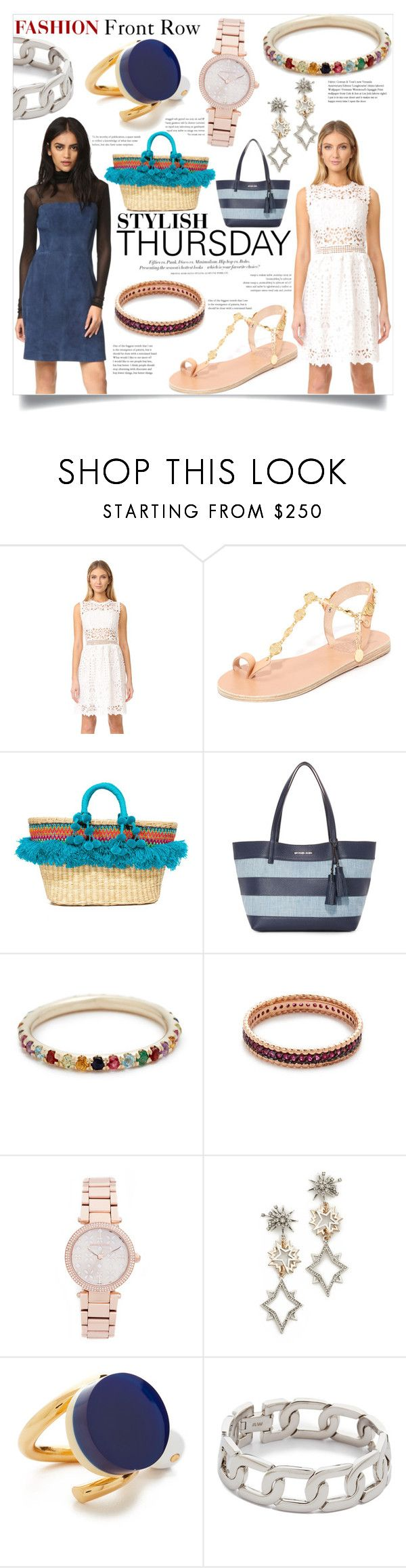 """Spring Fashion - Stylish Thusday"" by bonnielindsay ❤ liked on Polyvore featuring Ministry of Style, Ancient Greek Sandals, H&M, Nannacay, MICHAEL Michael Kors, Ariel Gordon, Kismet by Milka, Michael Kors, Lulu Frost and Marni"