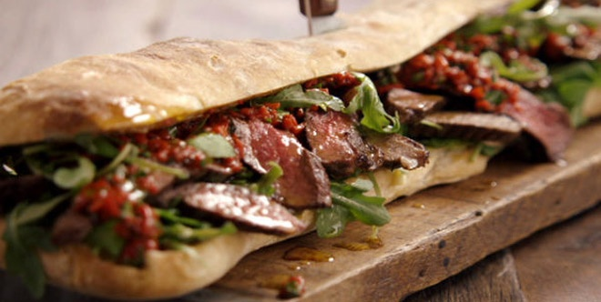 jamie oliver sandwich with grilled meat pealed pepper. Black Bedroom Furniture Sets. Home Design Ideas