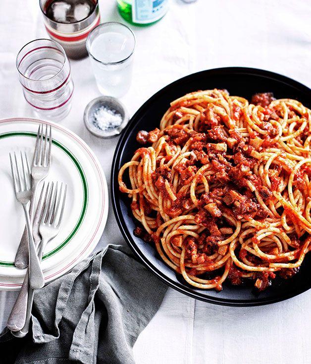 Bucatini all'Amatriciana...sauce has pancetta with the basil stalks ...