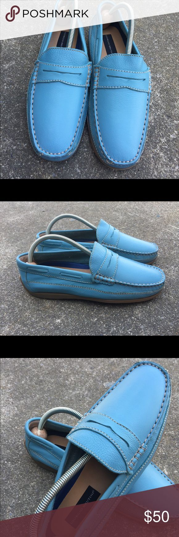 Men's Giorgio Brutini Baby Blue Leather Loafers 9M Men's Giorgio Brutini Baby Blue Leather Loafers 9M  New! No Tags! Giorgio Brutini Shoes Loafers & Slip-Ons