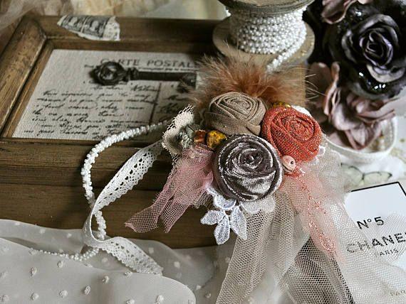 Vintage style Romance brooch  rose rosette  orange gray