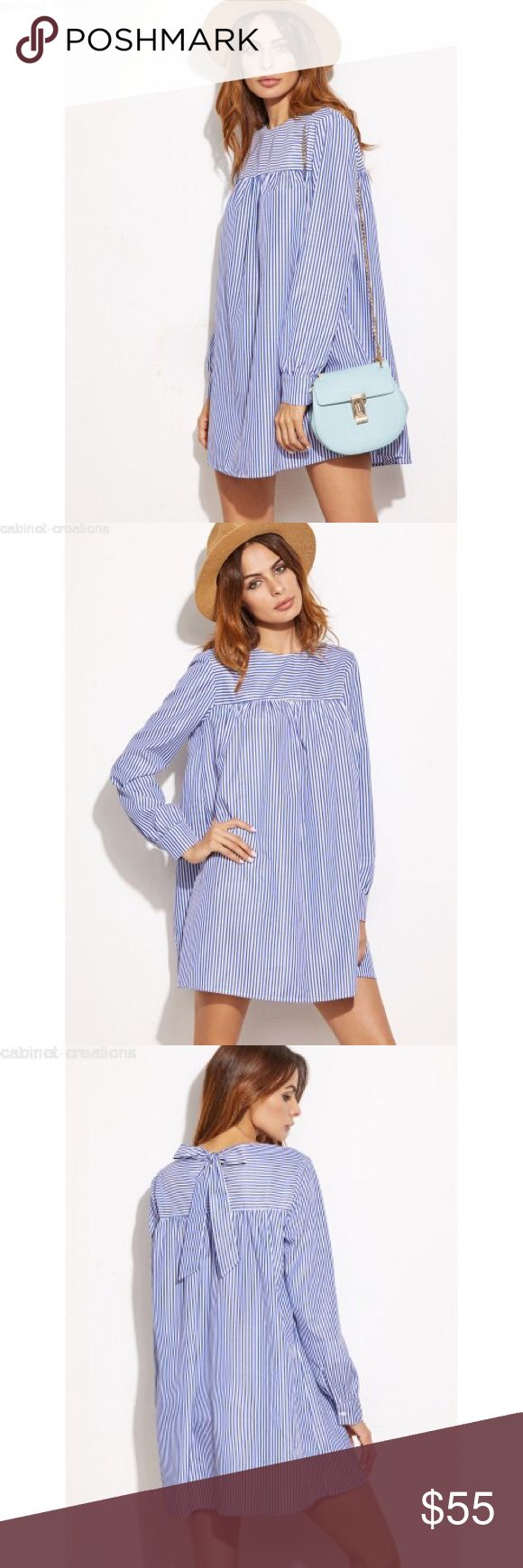 Blue Striped Tie Back Shift Shirt Dress NWOT Blue Striped Tie Back Shift Shirt Dress  Get Spring and Summer ready with this casual and cute Shift Dress. Pair with your favorite accessories and handbag for a chic look! In Excellent Condition.  Style : Shift Pattern: Striped Dresses