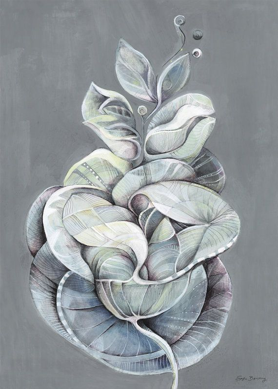 Leaves of Grey 50x70cm by Sormeja on Etsy, kr249.00