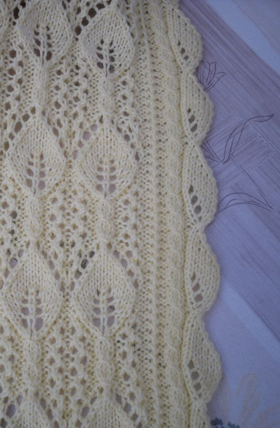 Knitted baby blanket, cot blanket, pram blanket, lace pattern, light weghit ...