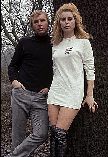 English football captain Bobby Moore and his wife Tina. A sort of 1960's version of Victoria Beckham