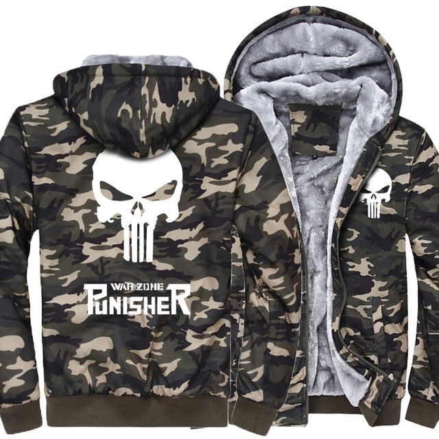 Hot Deals $33.56, Buy 2017 the punisher Army Ggreen Camouflage casual brand streetwear thick jacket men funny hoodies homme skull tracksuit coat MMA
