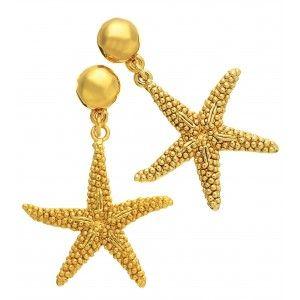 Orecchini pendenti stella marina in argento in bagno d'oro by Giovanni Raspini