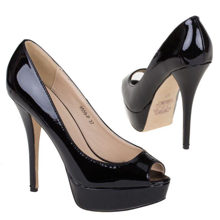 zwart lakleer Peeptoe Hoge hakken, laarzen, enkellaarsjes, pumps, sleehakken, sandalen slingbacks Shop ze online** Gratis verzending in NL >> http://www.emeralbeautylife.nl/