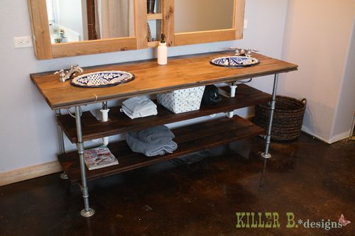 Who knew that a DIY industrial style vanity could look so amazing?