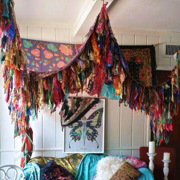 Bohemian Bed Canopy Boho Hippy vintage scarves Gypsy hippie patchwork meditation garden Wedding Decor curtain photo prop backdrop Fringe