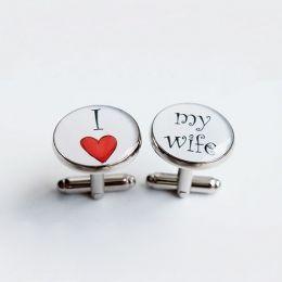 manžety kulaté I love my wife #bestman #wedding #cuffs #cufflinks #handmade #crystal #resin #love #lovemywife #wife #svatební #manžety #knoflíčky #designempathy