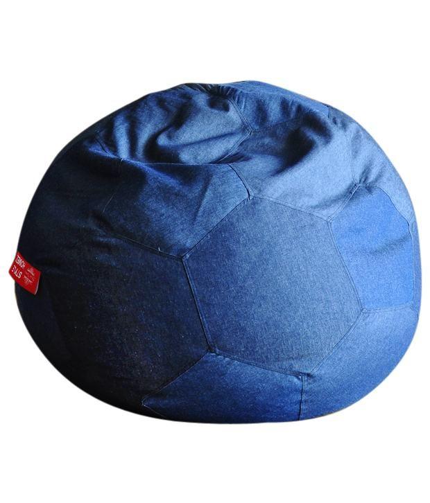 Style Homez Blue XXXL Denim Football Bean Bag