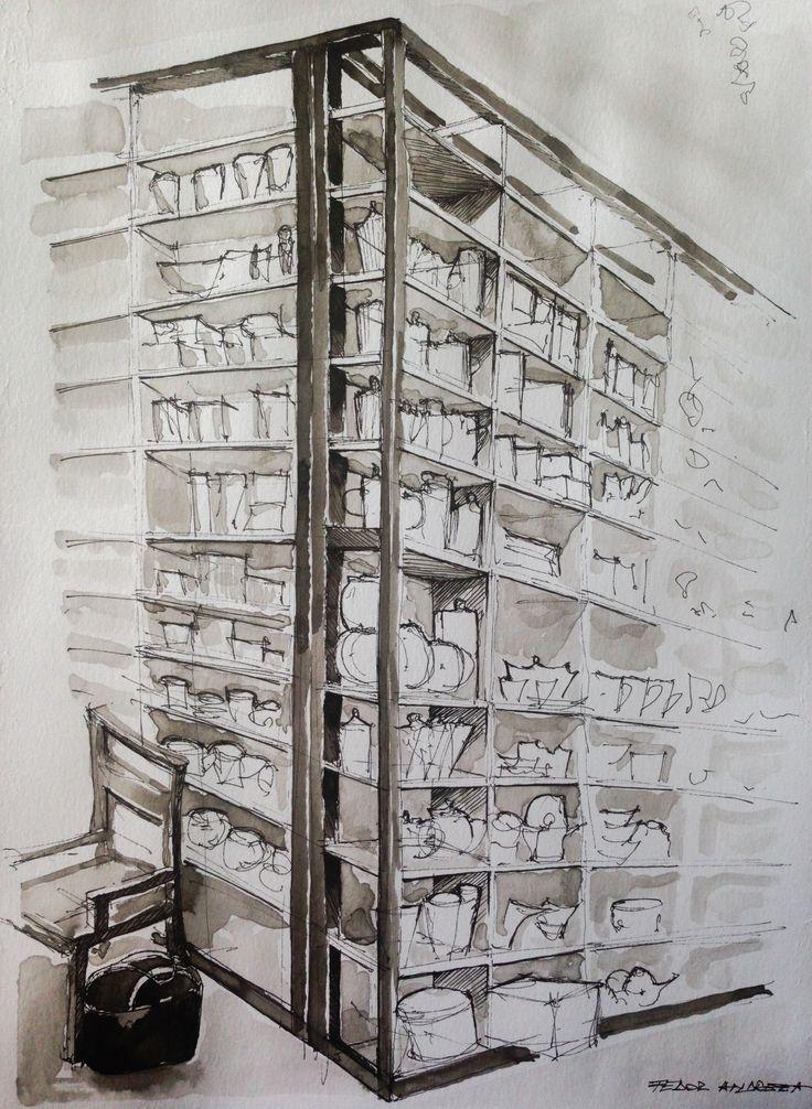 #bookshelves #ink #technique