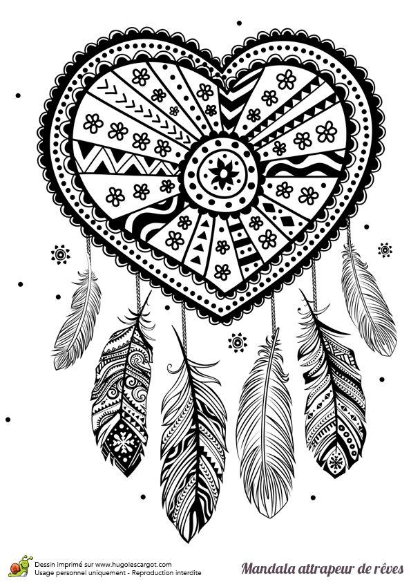 Coloriage d'un mandala attrape rêve cœur - Hugolescargot.com