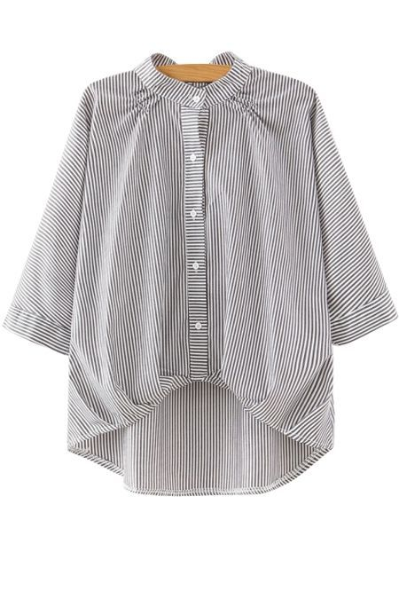 Stripe Stand Neck 3/4 Sleeve Blouse: