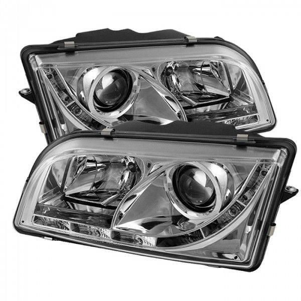Spyder Auto 444-VOS4097-DRL-C | 1998 Volvo S40 Chrome/Clear DRL LED Projector Headlights for Sedan