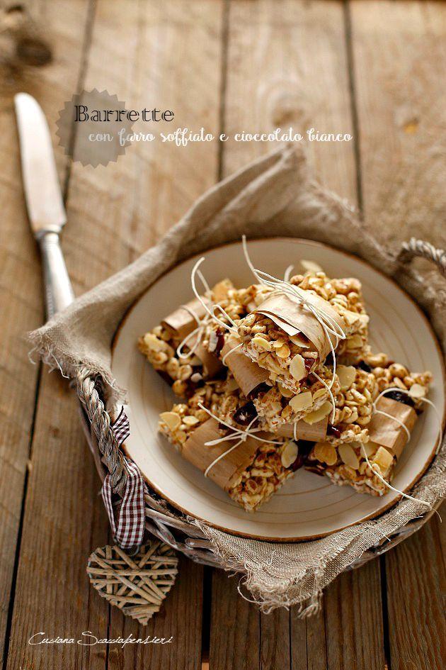 Cucina Scacciapensieri: Barrette con farro soffiato e cioccolato bianco