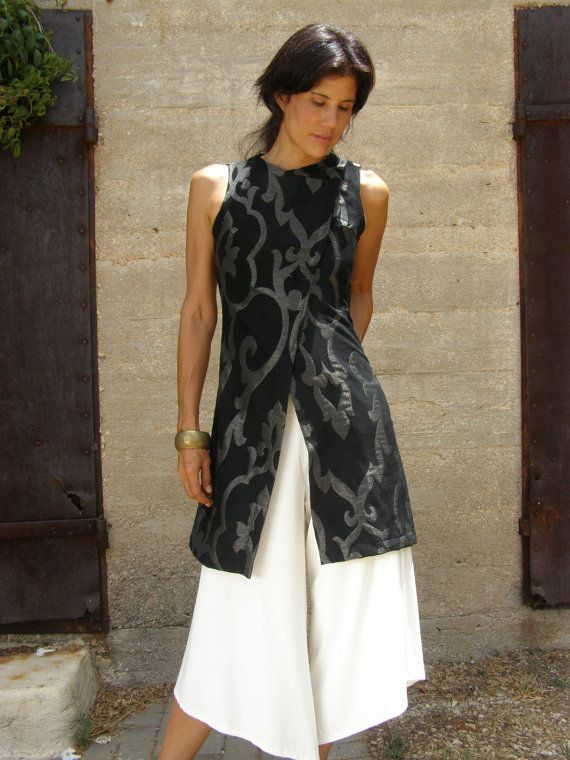 Women Tunic Dress Elegant Evening Silver And Black Tunic