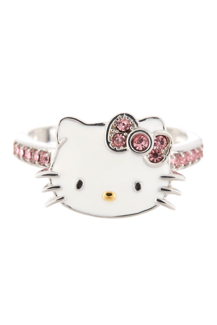 Hello kitty shower curtain rings - Sterling Silver Hello Kitty Face Ring For Kathie