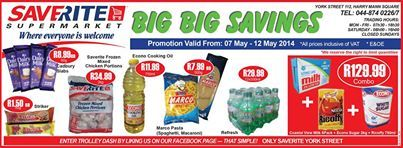Last chance to cash in on this weeks specials from Saverite Supermarket York Street. Come on down and enjoy a fabulous breakfast of 2 rashers of bacon, 2 eggs, 2 pieces of toast, 2 cheese grillers and a tomato and mushroom dressing for only R25.00 before you shop and that includes a cup of coffee. #supermarket #groceries #savings