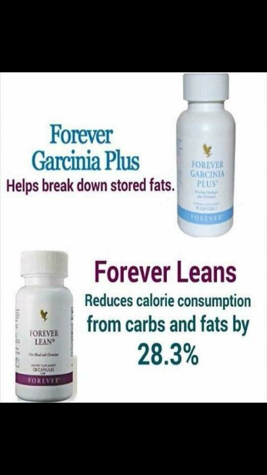 Weight management with Forever Garcinia Plus (helps breakdown stored fats) Code: 71 and Forever Lean (reduces calorie consumption from carbs and fats by 28.3%) Code 289