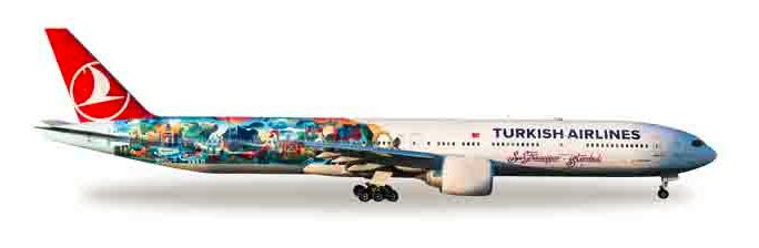 "1/500 Herpa Turkish Airlines ""Istanbul-San Francisco"" Boeing 777-300ER Diecast Model"