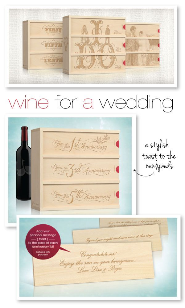 A stylish toast to the Newlyweds that makes for an amazing wedding gift.  http://wineforawedding.com/: First Anniversaries, Giftsbday Gifts, Shower Gifts, Anniversaries Wine, Wine Wedding Gifts Ideas, Wine Lovers, Wine Boxes, Wedding Details, Wine Gifts