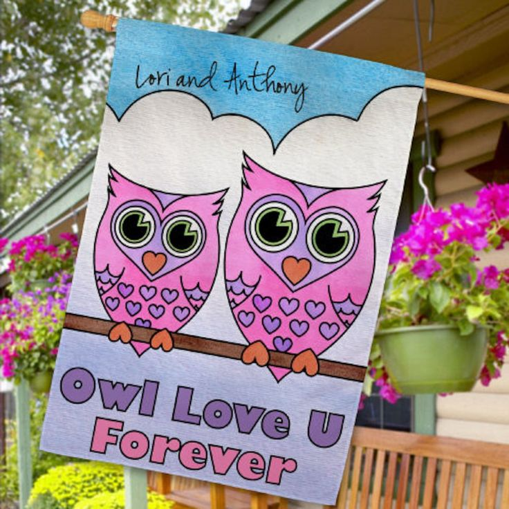 Personalized Owl Love U Forever House Flag - Gifts Happen Here