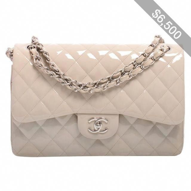 d5f795c7959e Pre-Owned Chanel Light Beige Quilted Patent Jumbo Classic Double Flap Bag  #Chanelhandbags