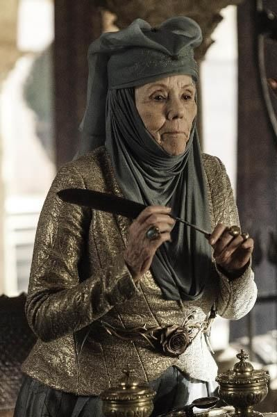 Diana Rigg as the formidable Queen of Thorns, Lady Olenna, grandmother to Margaery. Den of Geek