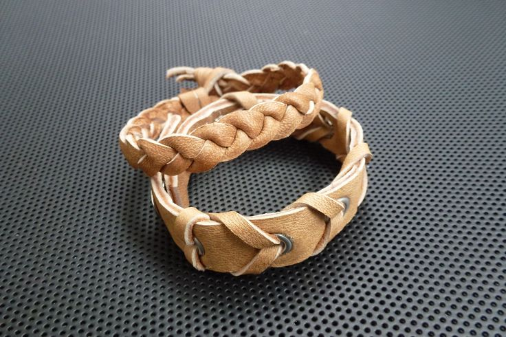Bracelets(natural,rough leather)Made by UNNI HOFF