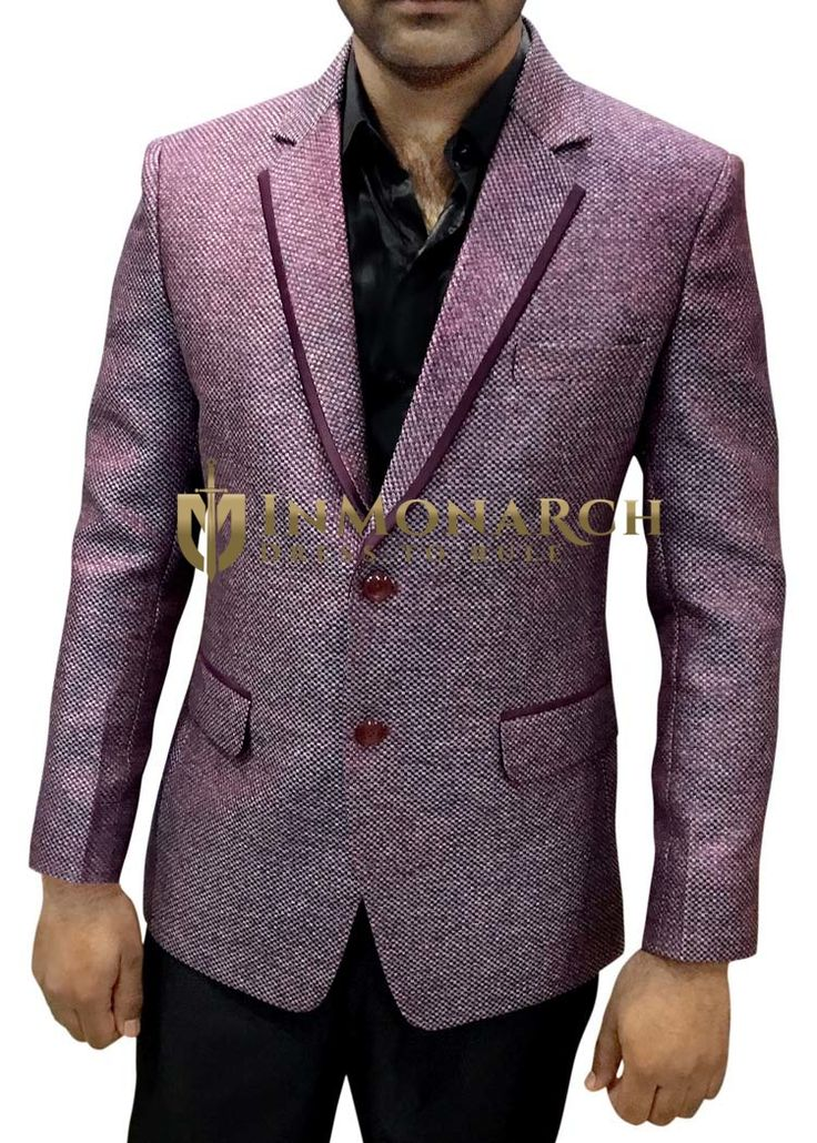 Mens Plum Notched Lapel Jute Blazer Designer Look