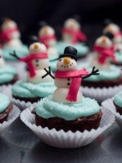 Snow Man Cupcakes