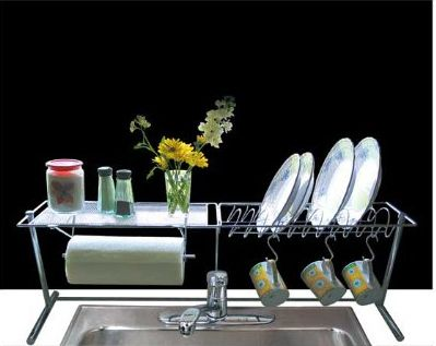 If you prefer not to hang baskets, get an over the sink rack. | 44 Cheap And Easy Ways To Organize Your RV/Camper