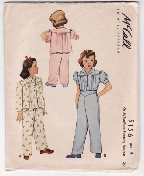 Vintage Sewing Pattern Children's Pajamas 1930's McCall ...