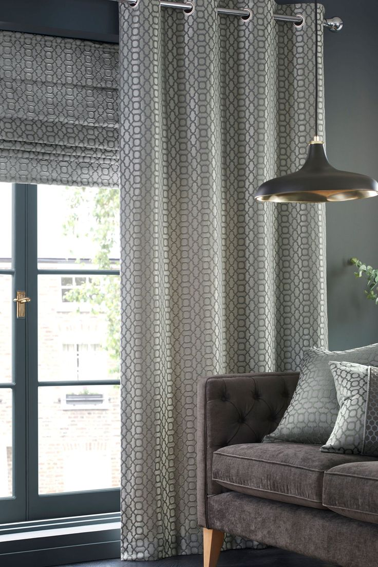 Couldn t find a picture of the curtains anywhere online this is - Buy Silver Woven Geo Jacquard Eyelet Curtains From The Next Uk Online Shop