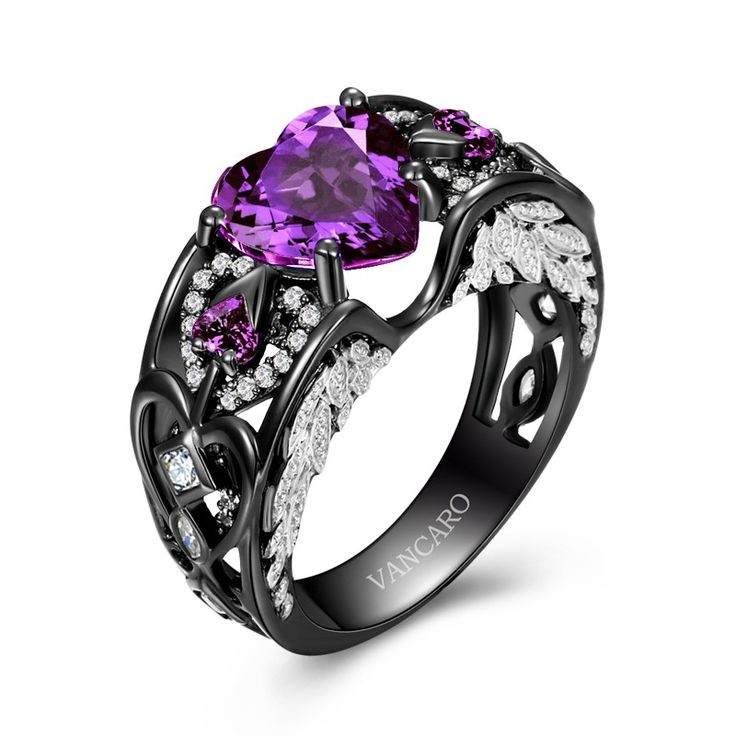 black and purple wedding rings amethys ring black and purple unique engagement ring 1807