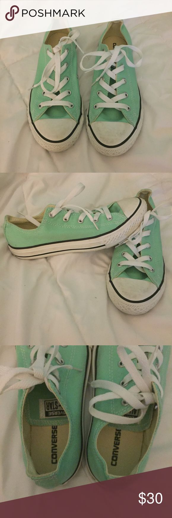 Teal converse Worn once or twice, great condition! Converse Shoes Sneakers