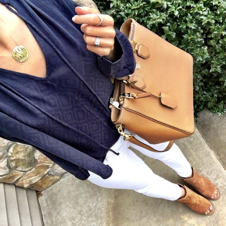 IG @mrscasual <click through to shop this outfit> Navy Blouse, white jeans, cognac tote + peep toe booties