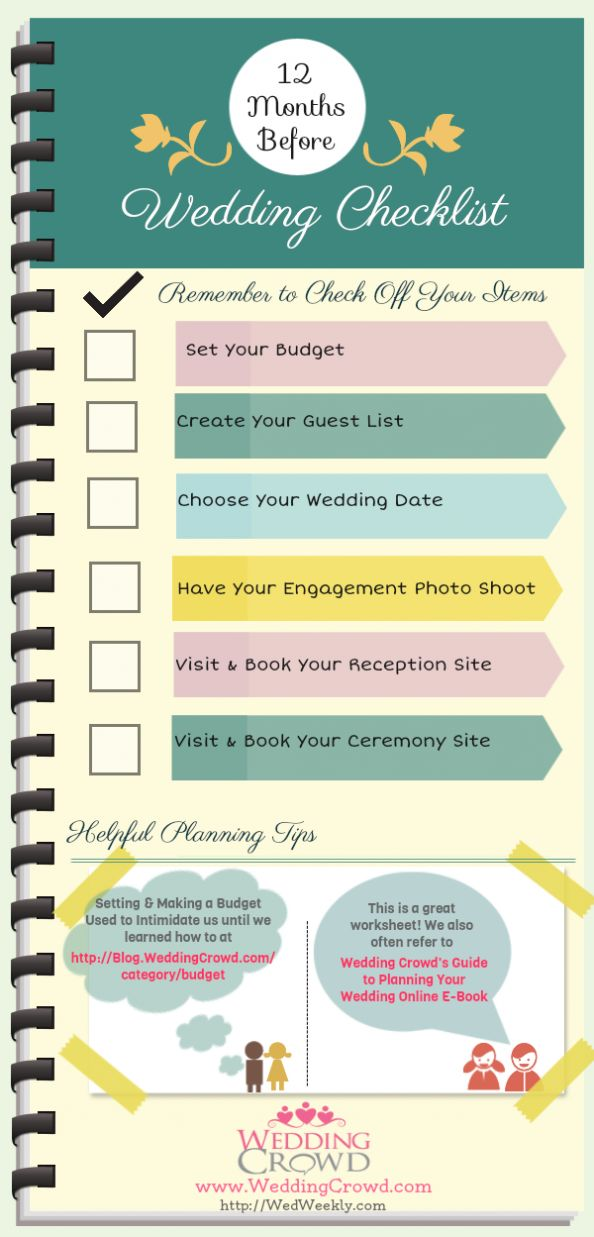 12 Months Before Wedding Planning Checklist Infographic